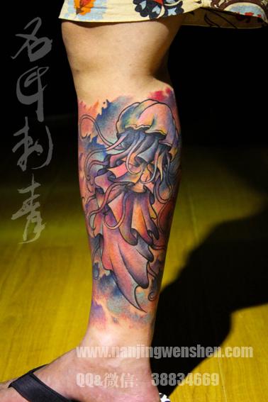 小腿水母纹身